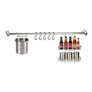 A & Y TRADERS Kitchen Rod with 5-S Hooks Stainless Steel 202 Grade