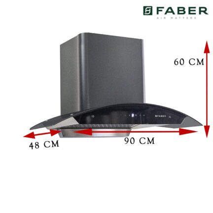 Faber 90 cm Auto Clean curved glass Kitchen Chimney1
